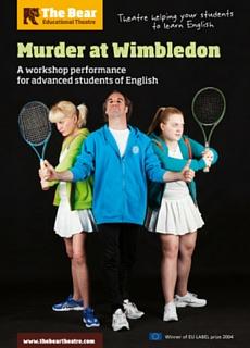 Affiche de la pièce de théâtre en anglais Murder at Wimbledon