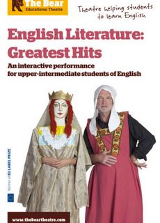 Affiche du spectacle en anglais English Literature Greatest Hits, pour découvrir les principaux auteurs et chefs-d'oeuvre de la littérature britannique