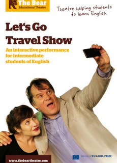 Affiche du spectacle en anglais pour collégiens Let's Go Travel Show