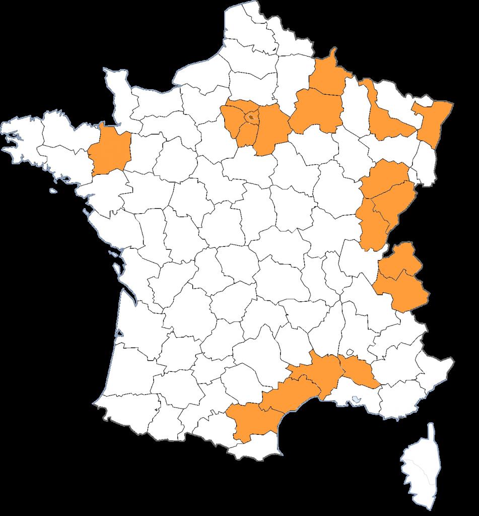 Carte de France avec les départements où Koalako se déplace en tournée