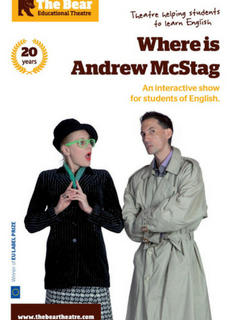 Affiche de la pièce de théâtre en anglais pour collégiens Where is Andrew McStag par The Bear Educational Theatre